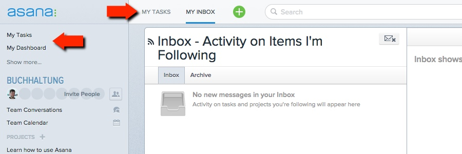 Asana - My Inbox, etc