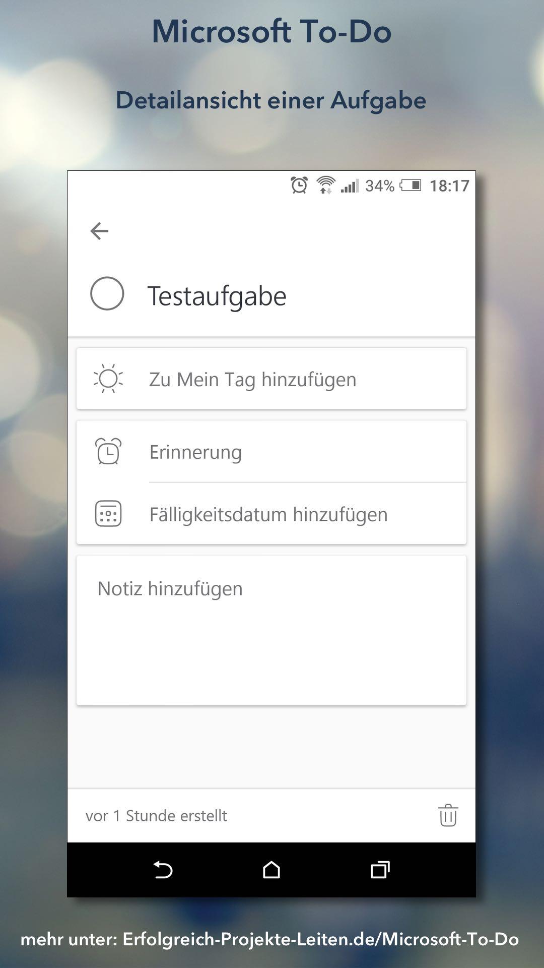 Microsoft To-Do - Aufgabe (Detailansicht)