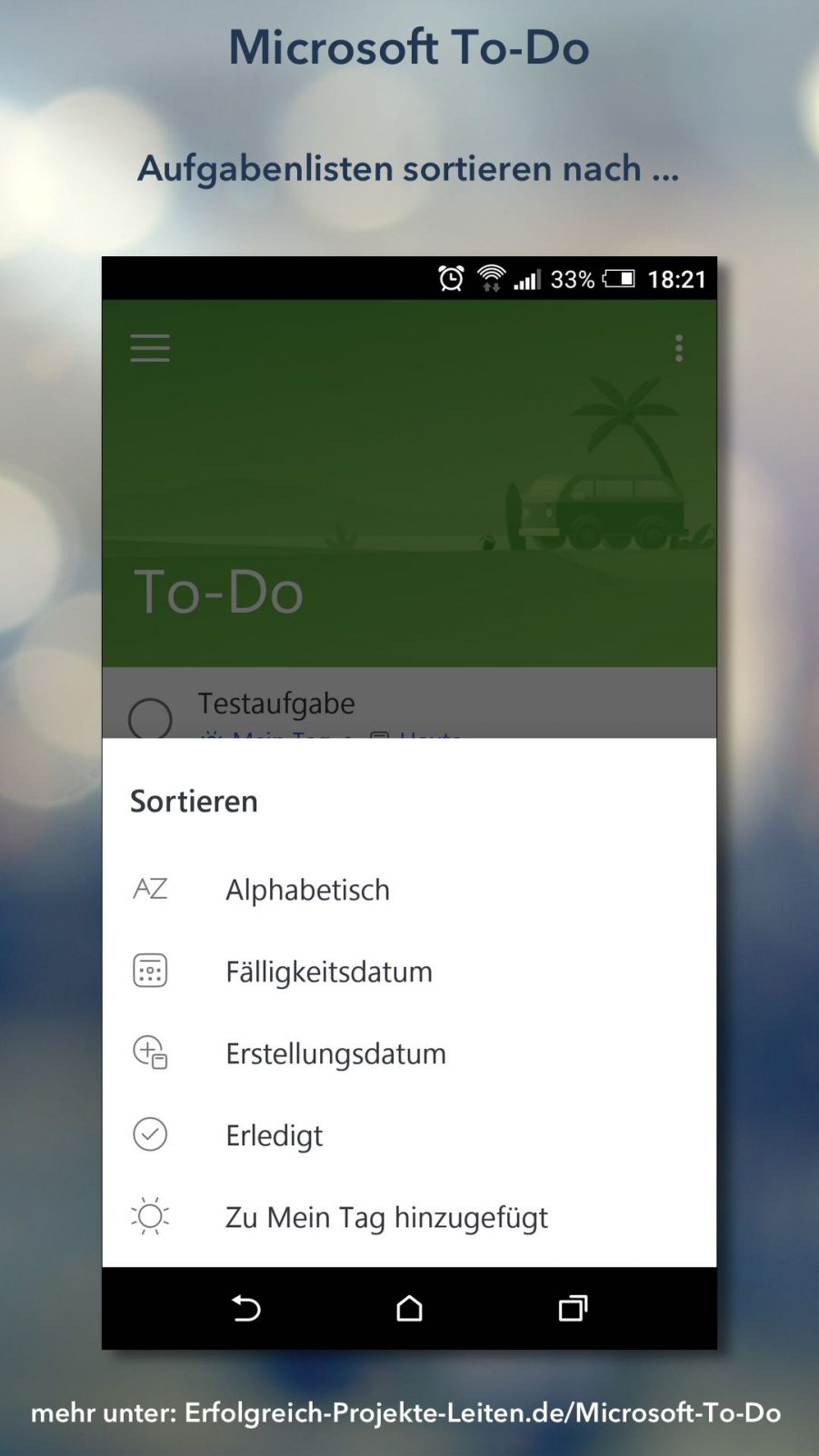 Microsoft To-Do - Listen sortieren