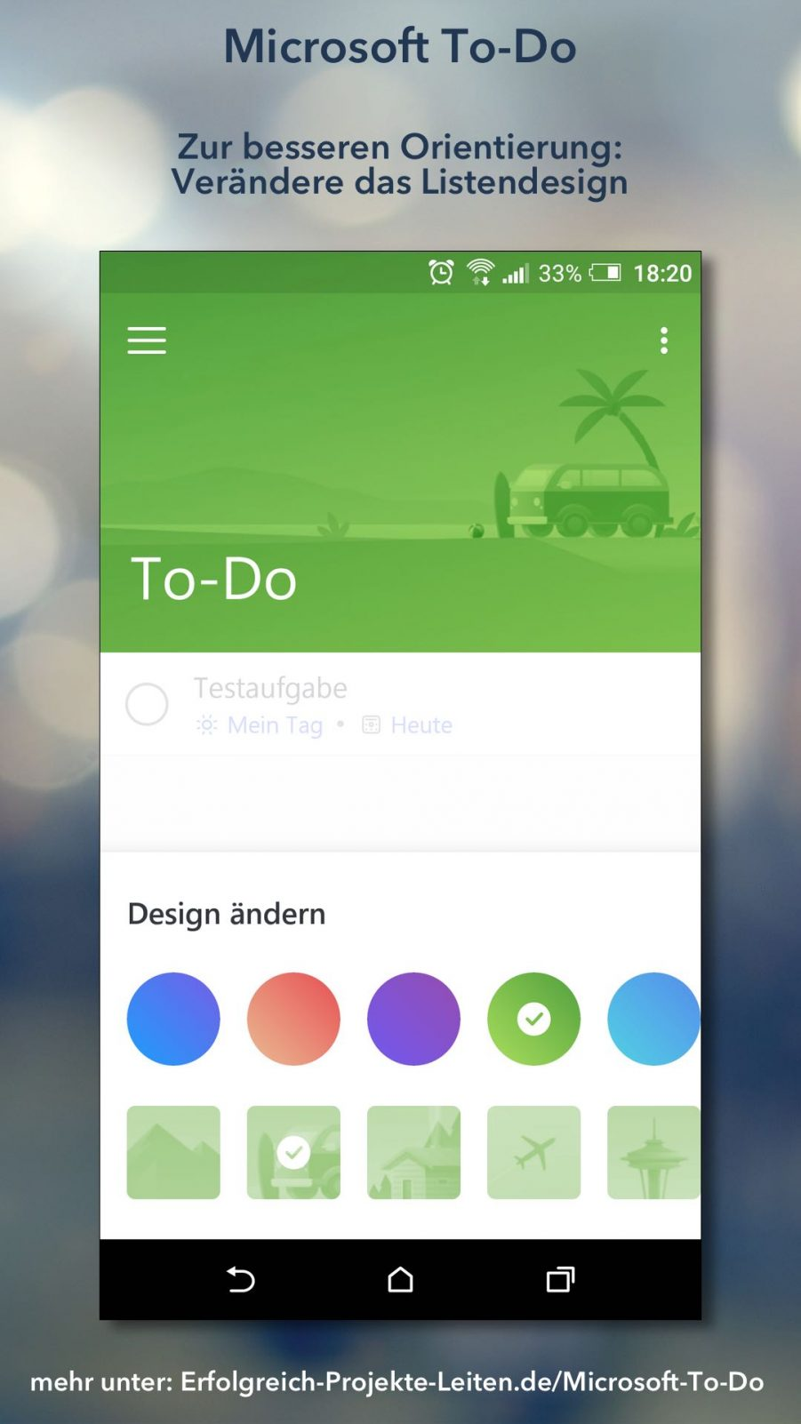 Microsoft To-Do - Listendesign ändern