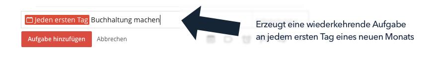 Todoist - Wiederkehrende Aufgaben (fixes Datum)