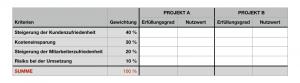 Nutzwertanalyse - Gewichtung der Bewertungskriterien