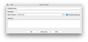 Project Libre - Neues Projekt erstellen