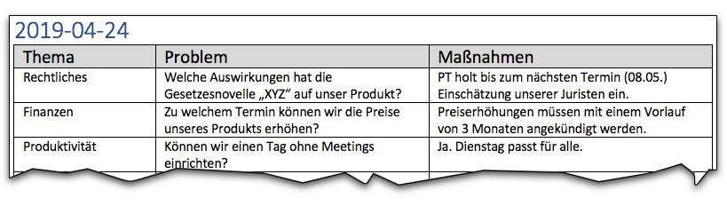 3-Spalten-Agenda-Trick (Beispiel)