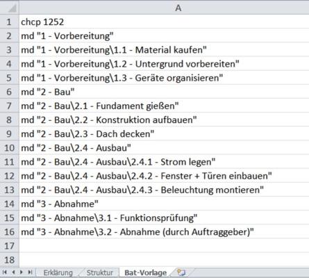 Projekt-Ordnerstruktur erstellen mit Bat-Datei - Bat-Datei-Vorlage